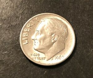 1967 Roosevelt Dime Error DD in liberty and in God we trust rare coin very nice