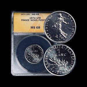 1974 France 1 Franc Piedfort (Piéfort) - ANACS MS68 - Top Pop 🥇 RARE Mint. 118