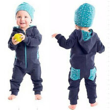 Toddler Baby Boy Hooded Romper Zipped Jumpsuit Playsuit+Hat Outfits 2PCS Clothes