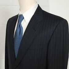 Oxxford Mens 42R Navy Blue Striped Double Vent Wool Suit Jacket Sport Coat 42 R