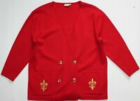 Jacques Vert Vintage Military Double Breasted Cardigan - UK Size 22 - Red Womens