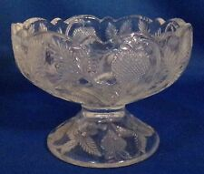 1890s Strawberry Pattern Small Fruit Compote Clear Glass No Damage Nice Display