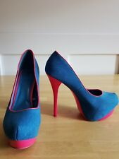 Shiekh size 11  Platform Stiletto high heel shoes neon pink  & blue