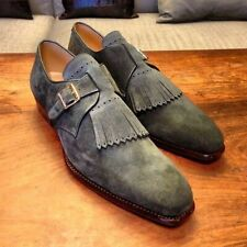 Gray Suede Leather Monk Fringes Single Buckle Strap Derby Toe Handmade Shoes