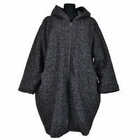 Boucle Wollemantel Mantel Kapuze Dunkelgrau Plus Size 48 50 52 54 56 58 60 XXL