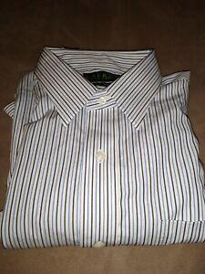 Ralph Lauren Dress Shirt White With Black And Blue Stripes 16.5-34/35 Pocket