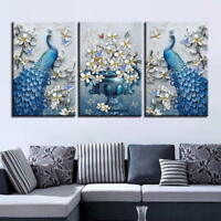 Blue Peacock with White Lily 3 Piece Canvas Wall Art Picture Painting Home Decor