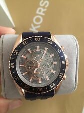 NWT Michael Kors Men's Automatic JetMaster Navy Silicone Strap Watch 45mm MK9025