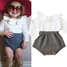 Kids Baby Girl Wool Knitted Long Sleeve Tops Romper Shorts Outfits Set Clothes