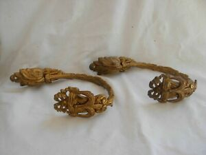PAIR OF ANTIQUE FRENCH GILT BRONZE CURTAIN TIEBACKS,LOUIS 16 STYLE,LATE 19th.