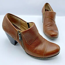 BOC C48706 Women Brown Leather Zip Cap Toe Cuban Heel Shoe Size 9 EUR 40.5