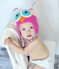 Baby Girl Boy Children Toddler Warim Soft Cute Animals Owls Knit Hat Beanie Cap