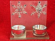 2 Snowflake Tea Light Holder Holiday Frosted Glass Silver Sparkles