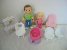 FISHER PRICE MY FIRST DOLLHOUSE DAD BABY PINK CHAIR FURNITURE & FIGURES