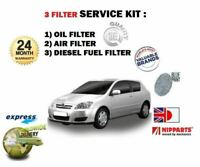 FOR TOYOTA COROLLA 1.4 DT D4D 8/2004-2007 OIL AIR FUEL 3 FILTER SERVICE KIT