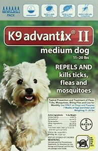 K9 Advantix II Medium Dog Dogs 11-20 lbs 6 Month Control Fleas Ticks Mosquitoes