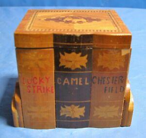 Antique Wooden Cigarette Dispenser Lucky Strike Chesterfield Camel Made in Japan