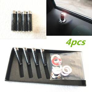 4 Pcs Black Auto Real Carbon Fibre Car Truck Interior Door Lock Knob Pins Cover