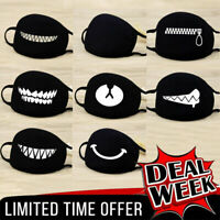 Cartoon Funny Face Mask Unisex Teeth Mouth Cover Black Cotton Printed Washable