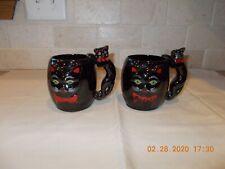 Vintage Shafford Japan Black Cat Hand Painted Mugs - Set of 2