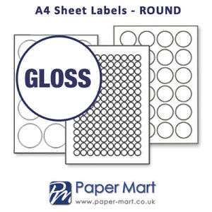 Round & Oval Labels On A4 Sheets - Labels Stickers for Laser Inkjet * GLOSS *