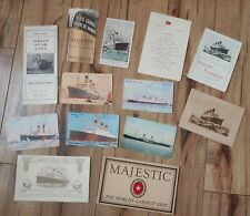 Majestic White Star Line Rms Ss lot of 13 papers Postcards Song Sheet Menu Rare