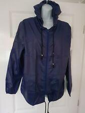 LADIES NAVY, Pac A Mac, Kagool, showerproof, festival jacket. Size Medium