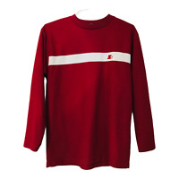 Starter Mens M Red Long Sleeve Crew Neck Pull Over Shirt White Stripe Logo