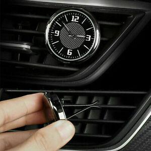 Luminous Car Air Vent Dashboard Stick-On Time Clock Quartz Analog Watch Black