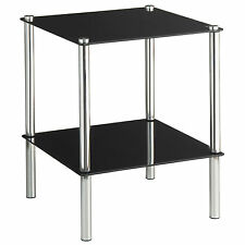 VonHaus 2-Tier Square Glass End Table / Side Table with 2 Shelves & Chrome Legs