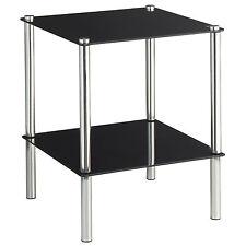 VonHaus 2 Tier Square Glass End Table Side Multi Purpose 2 Shelves Chrome Legs