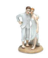 Beach Bride Groom Porcelain Couple Wedding Cake Topper