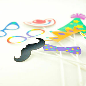 16x Party & Animal Photo Props Kit Photo Booth Prop Birthday Party Decoration