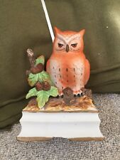 VTG HAND PAINTED ORANGE OWL ON BRANCH MUSIC BOX ROYAL CROWN J BYRON SANYO