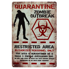 Quarantine Zombie Outbreak Metal Tin Sign Dead Gift Novelty Office Bar Poster