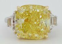 10.03 ct 18K Platinum Cushion Fancy Intense Yellow Diamond Engagement Ring GIA