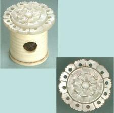 Antique Mother Of Pearl & Bone Sewing Workbox Emery * English * Circa 1850