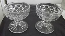 Vintage Clear Glass Diamond Cross Hatch Stems Sherbet set of 2