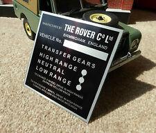 Land Rover Serie 1 2 caja de transferencia de mamparo Gear/Placa de información/placa 88 109