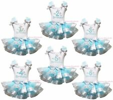 My 1ST 2ND 3RD Birthday White Top Blue Silver Satin Trim Skirt Girls Set NB-8Y