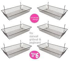 6 Pcs 24 X 12 X 4 Baskets For Gridwallslatwallpegboard Black