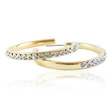 14k Gold Plated Brilliant Elegant Dangle Hoop Earrings With Swarovski Crystals