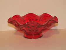 VIKING GLASS BULLSEYE PATTERN RUBY COLOR RUFFLED BOWL 6 5/8""