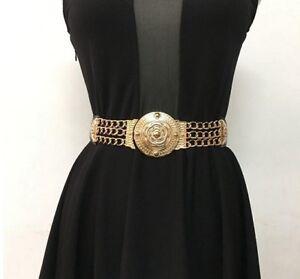Women Belt Triple Metal Chained Straps Golden Baroque Round Buckle Royal Fashion