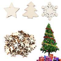 50pcs Xmas Natural Wood Chip Tree Ornaments Hanging Pendant Decor DIY Crafts