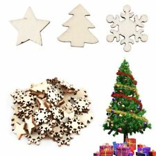 50Pcs Christmas Wood Ornaments Decor Scrapbooking Embellishments DIY Crafts New