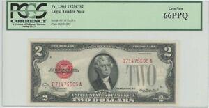 1928c $2 Legal Tender FR#1504 PCGS 66 PPQ GEM