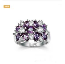 White Gold Plated purple zircon ring/sz 8/#441/PRIORITY MAIL