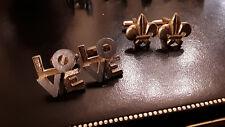 Boutons de manchette Homme cufflink fleur de Lys + LOVE