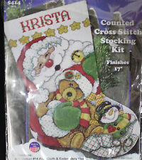 Joan Elliott Santa With Teddy Bear Stocking Counted Cross Stitch Kit Snowman